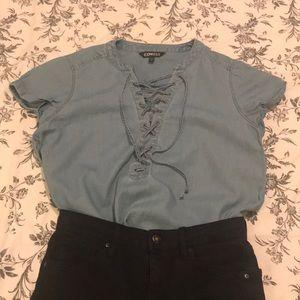 Denim Jean Lace Up T-Shirt